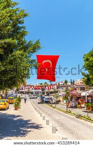Fethiye - June 07: Turkish flag on the streets. June 07, 2016, Fethiye, Turkey - stock photo