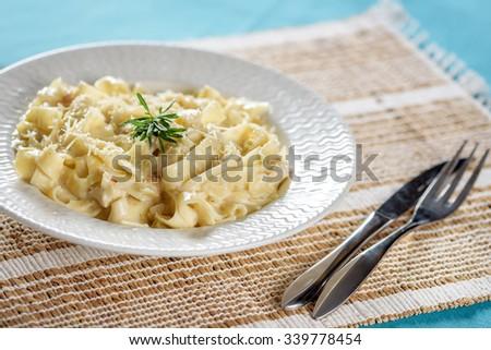 Fettuccine Alfredo - stock photo
