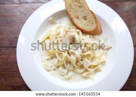 fettuccine carbonara - stock photo