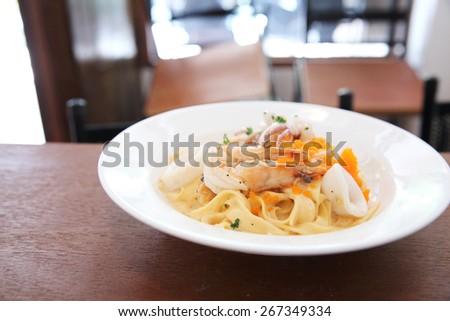 fettuccine seafood - stock photo
