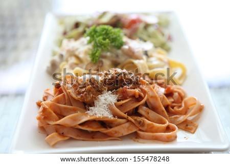 fettuccine spaghetti - stock photo