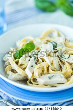 Fettucini pasta with cheese cream sauce and chicken with parmesan - stock photo