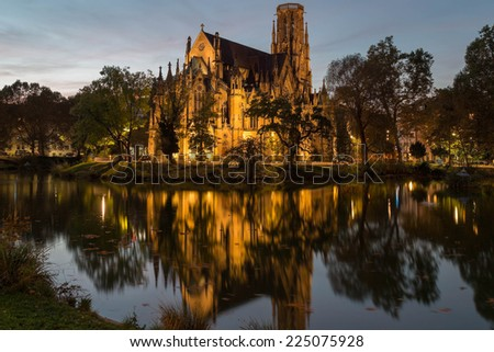 Feuersee and Johannes church in sunset, Stuttgart, Germany