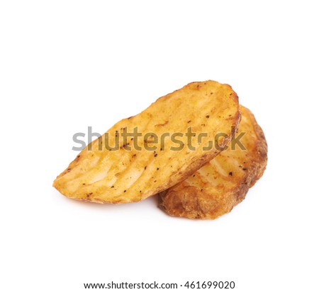 Few baked potato slices composition, isolated over the white background