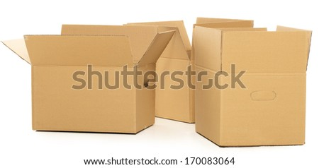 Few carton boxes on the white background