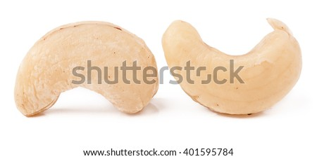 few cashew nuts on a white background close-up - stock photo