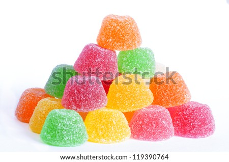 few colored sweet jelly isolated - stock photo