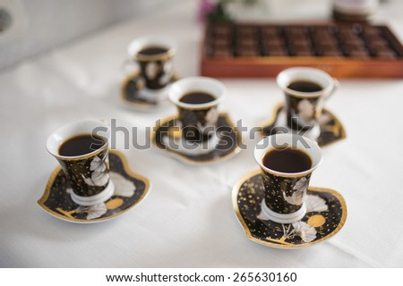 few cups of coffee for relax at morning - stock photo