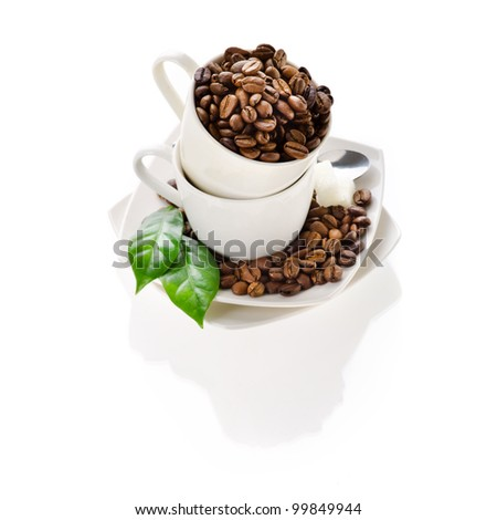 Few cups of coffee on isolated white background - stock photo