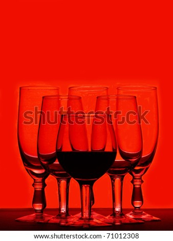 few empty glasses are for swizzles on red