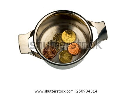 few euro coins in a saucepan, symbolic photo for sovereign debt and financial requirements - stock photo