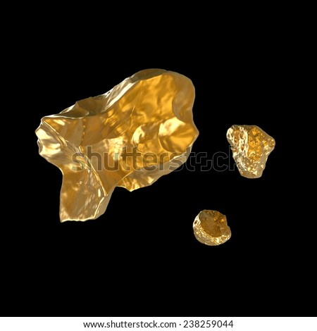 few fine golden nuggets isolated on black - stock photo