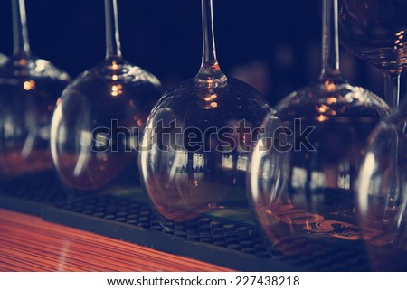 few glasses close up in a cafe,  image with selective focus - stock photo