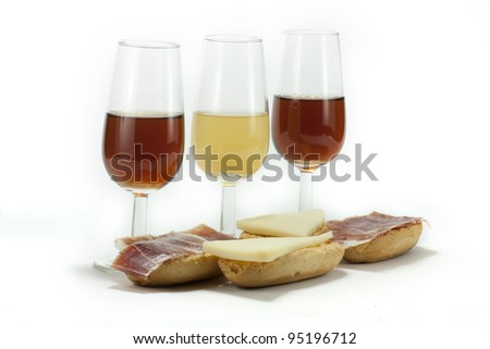 few glasses of Spanish wine, with a snack - stock photo