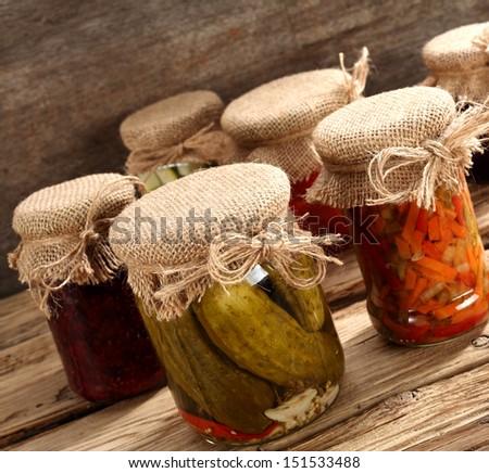 few jars of food  - stock photo