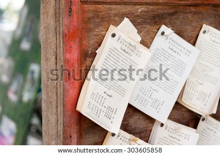 Few language memos on the wooden board