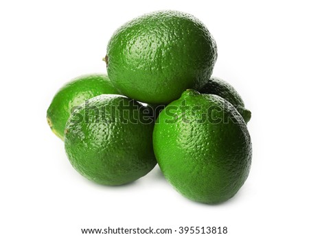 Few limes, isolated on white - stock photo