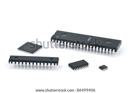 Few microchips  isolated on the white background