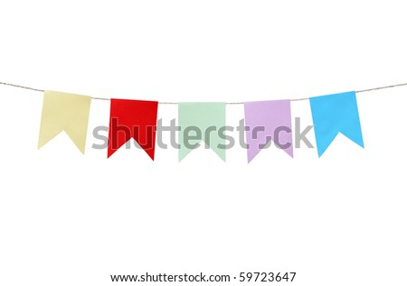 Few motley paper flags hanging with rope on white background. Clipping path is included - stock photo