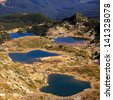 few of seven Rila lakes, in bulgarian Rila mountain - stock photo