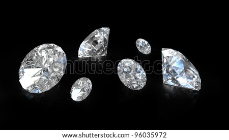 Few old european round cut diamonds, on black background - stock photo
