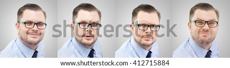 Few portraits of young caucasian businessman with different facial expressions. Smiling, surprised, serious, furious.