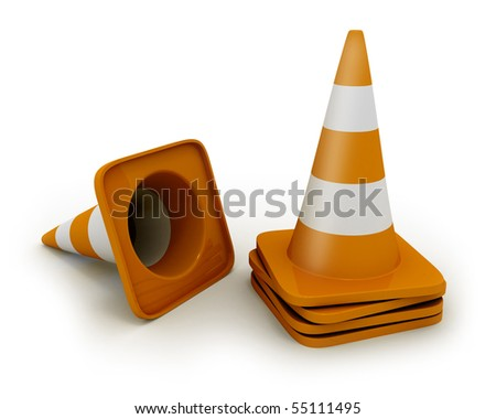 Few road cones - stock photo