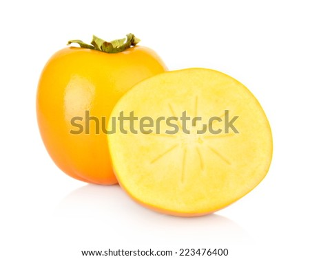 Few sharon kakis sliced-japanese persimmons,diospyros kakis isolated on white background - stock photo