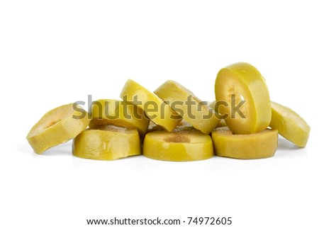 Few sliced green olives  isolated on the white background - stock photo