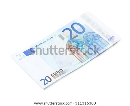 Few twenty euro bills in a pile, composition isolated over the white background - stock photo