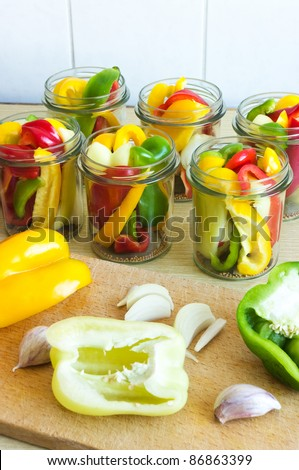 Few types of pepper ready to canning - stock photo