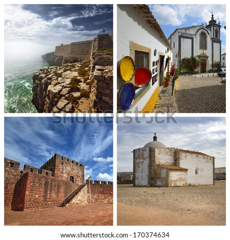 Few view from Portugal: Peniche, Obidos, Silves and Sagres - stock photo