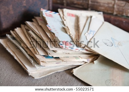 few vintage letters from an old box - stock photo