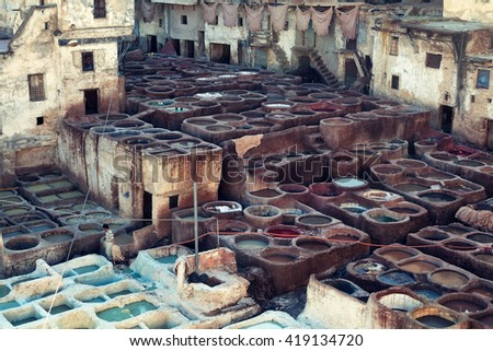 Fez, Morocco - March 6, 2015 : The Chouwara leather tanneries are Fez medina's most iconic sights and smells. - stock photo