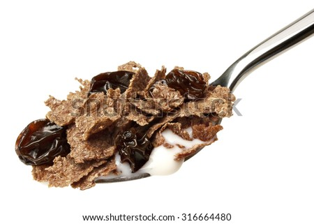 Fiber cereal with raisins - stock photo