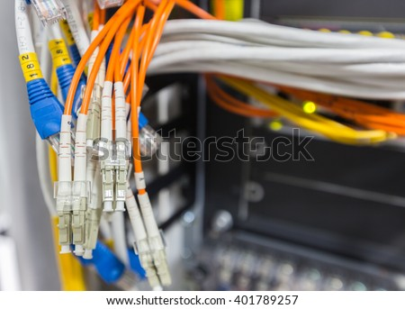 Fiber optic cable connect to network switch in data center