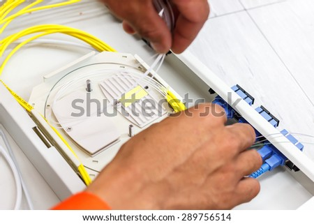 fiber optic cable for network system - stock photo