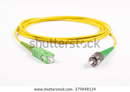 Fiber optic cable isolated on the white background