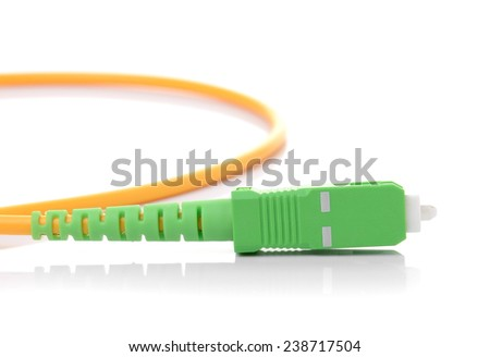 Fiber optic cable on white background - stock photo