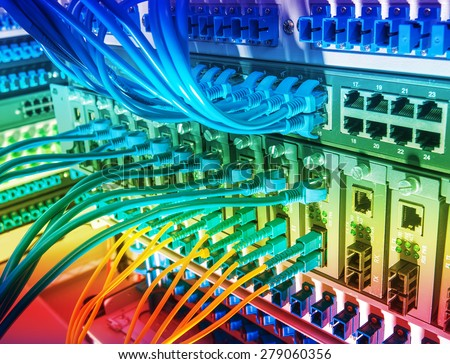 Fiber Optic Cables Connected Optic Ports Stock Photo
