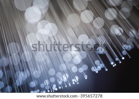 Fiber optic cables, fibre connection, telecomunications concept. - stock photo