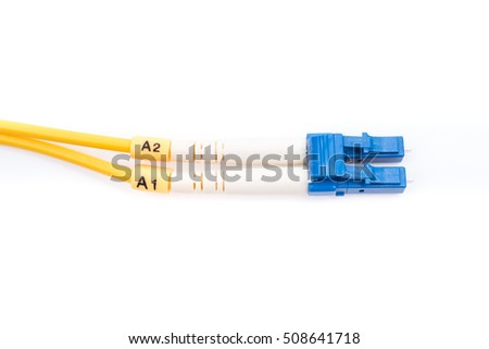 Fiber optic cables single mode LC isolated on white background
