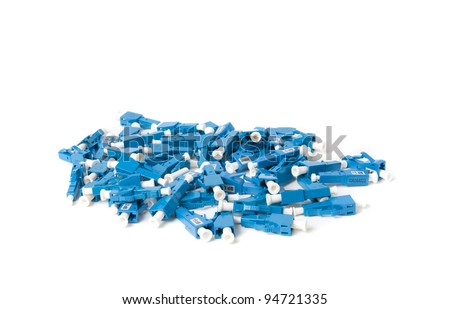 Fiber-optic connectors, attenuators. Wite backgraund - stock photo