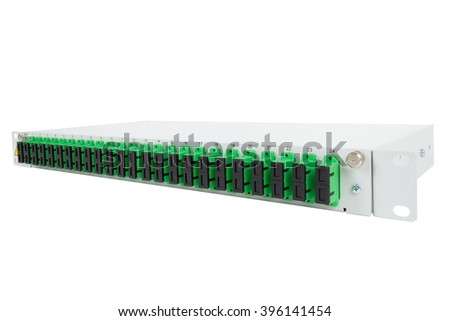 Fiber optic distribution frame with covered SC adapters - stock photo