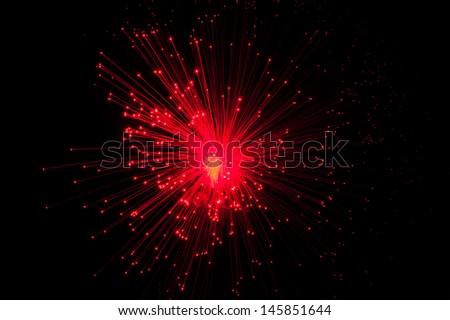 Fiber Optic dynamic flying from deep - stock photo