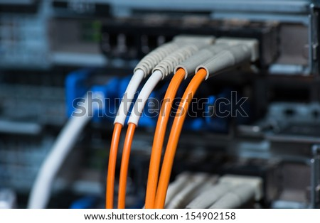 Fiber optical connections with servers - stock photo
