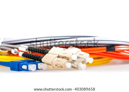 Fiber Optical multi mode LC patch cord with blue yellow connector. - stock photo