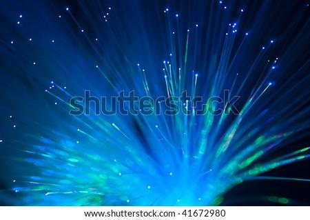 Fiber optics background, bunch of the optical fibres - stock photo