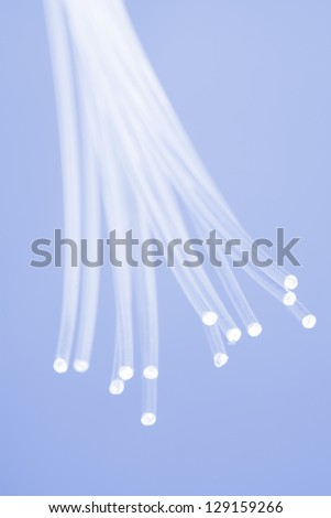 Fiber optics close-up, modern computer communication technology