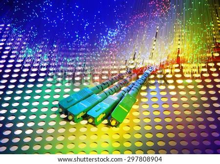 Fiber optics close-up, modern computer communication technology, blur - stock photo